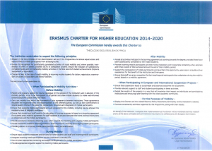 The Erasmus Charter for Higher Education 2014-2020 was awarded to the School on 15th February 2017